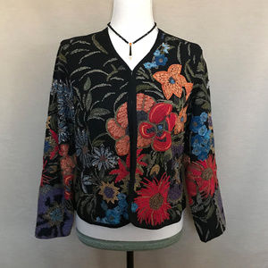 Chico's Black Blue Embroidered Beaded Cardigan